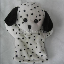 Cute design custom dog plush hand puppet/ high quality plush dog toy with big eyes