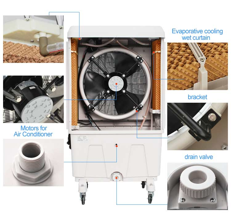 Top OEM Manufacturer Supply High Quality 8000cmh Plastic Evaporative Air Cooler For Commercial Use