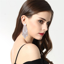 E1144 Top Quality Wedding Earrings Rhinestone Shiny Dangle Women Luxury Wholesale Jewelry Anniversary Wedding Party Accessories