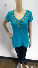 Ladies national style slub jersey v neck short sleeve t-shirt with embroidery sequin bead design