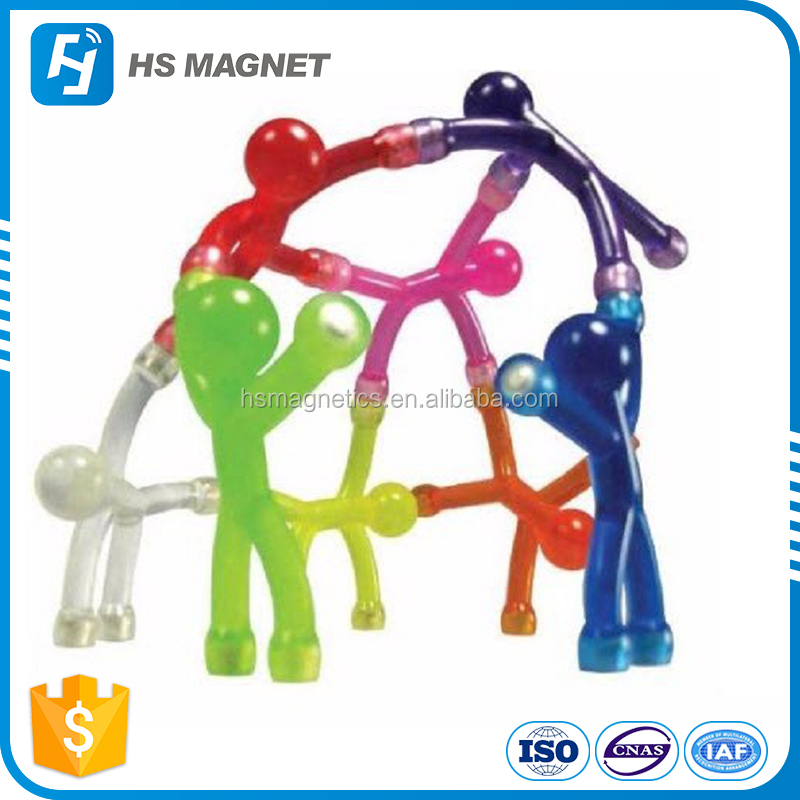 Plastic flexible child craft and bendable q-man magnet toys