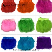 wholesale carnival decorations bulk colorful Turkey Feather Fringe Trim Fluffy Marabou feather trimming