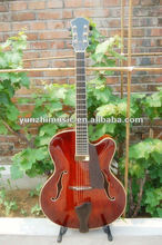 archtop made in China yunzhi fully handmade solid wood electric guitar for sale