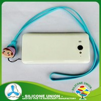Custom silicone mobile phone lanyard, silicone neck strap