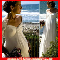 HP4037 Hot Sale Attractive Chiffon Empire Waist Maternity Wedding Dresses for pregnant brides