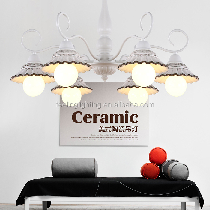 High quality ceramic shade american pendant chandelier for restaurant ceiling
