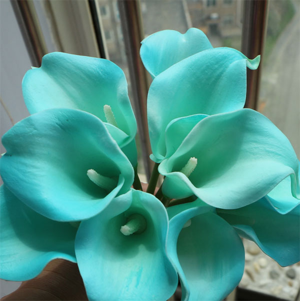 New design Tiffany Blue Real Touch Artificial PU Calla lilies