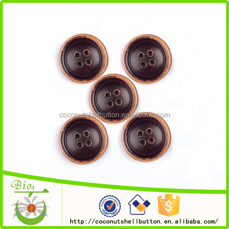 Wholesale bulk narrow border engraved wood dress buttons
