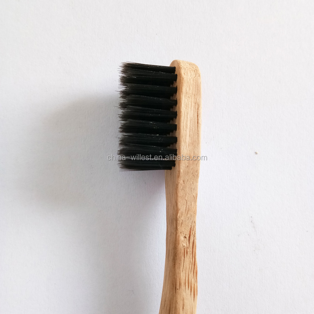 Eco-friendly carry travel black bristle bamboo toothbrush