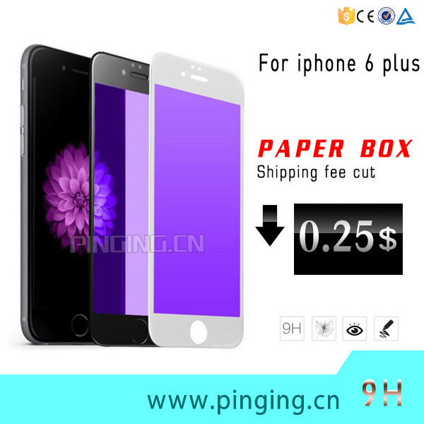 Factory Supply Anti-Blue Light Protect Eyes Screen Protector For iPhone 6 Plus 9H Tempered Glass