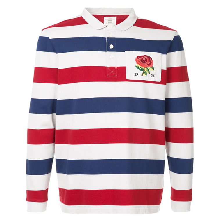 Multicoloured cotton striped shirt with Embroidery rose detail