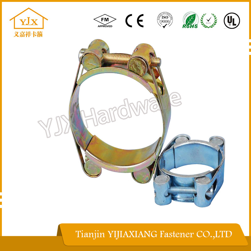 mild steel metallic double bolt double band hose clamp with all types