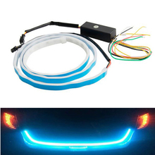 Hot 12v dc car tailgate trunk light amber drl turn signal red brake flexible 335 smd led strip sequential light