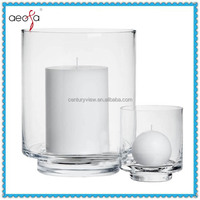 Wholesale large clear floor standing glass candle holder