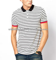 MEN'S COTTON STRIPED POLO T SHIRT WITH CONTRAST CUFFS
