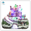 Christmas village scene with Fiber optic river, Rotating kids & music