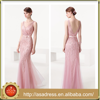 AED14 Charming Mermaid Sleeveless Evening Gowns Princess Pink Beading Deep V-neck Long Evening Dress with Backless