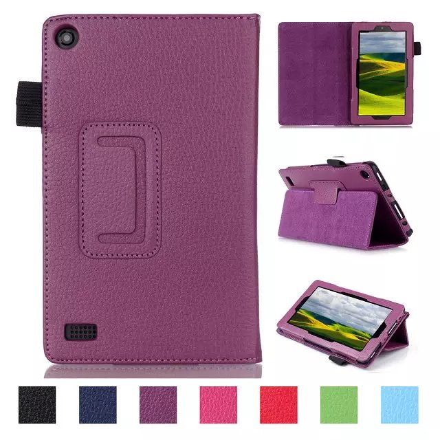 Luxury Litchi Pattern PU Leather Case Cover For Amazon new kindle Fire 7 2015
