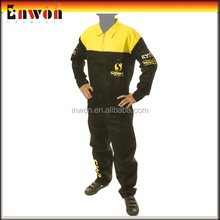 Wholesale mens denim racing overalls with printing logo