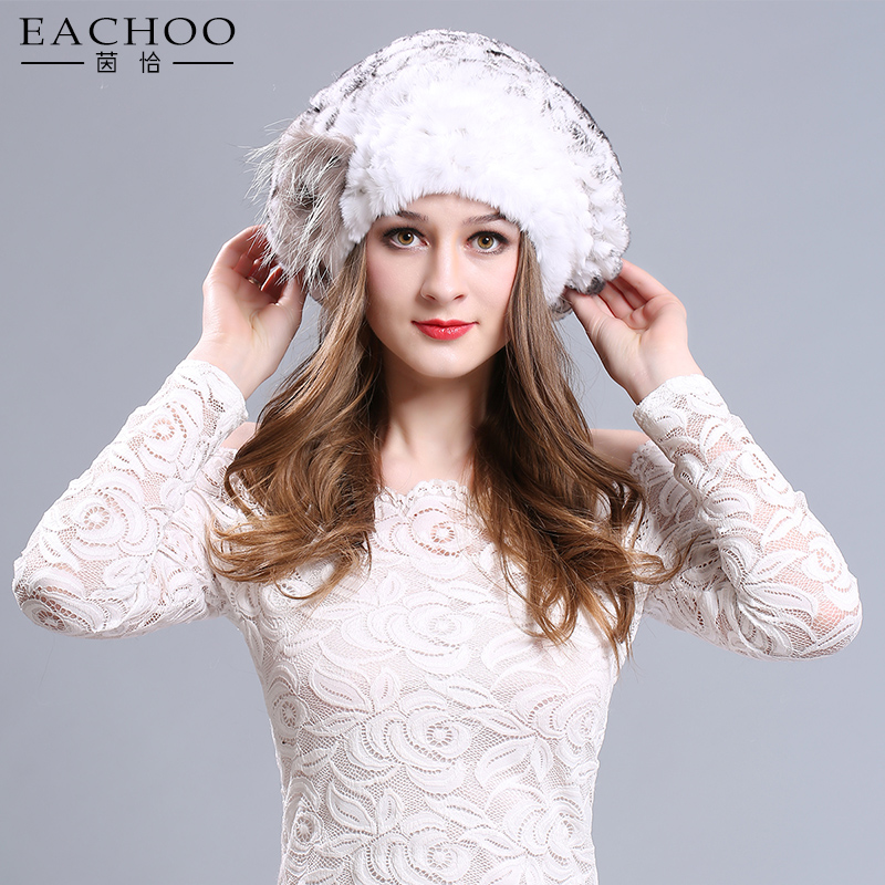 2017 New fashion ladies beanie hats real rabbit fur caps with rose