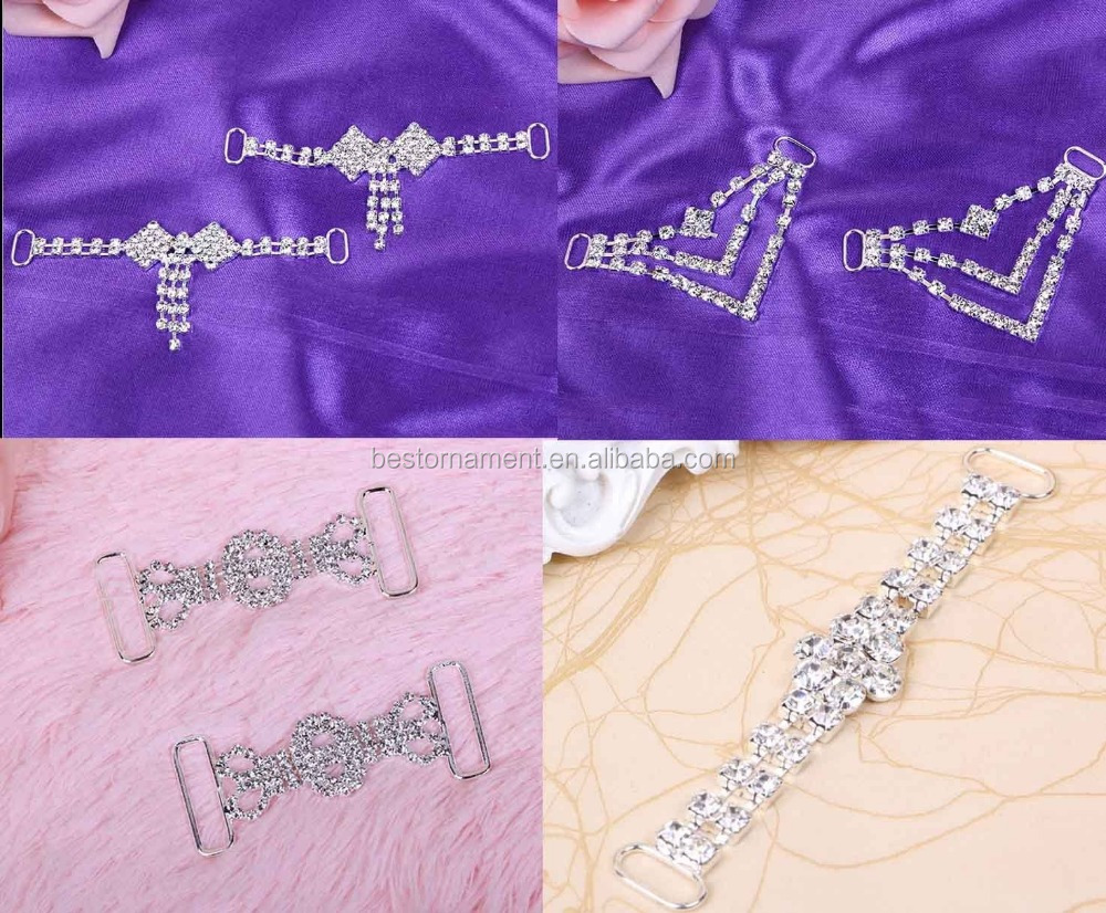 Crystal Rhinestone Swimwear Bikini Shoe Connector / Buckle Metal Chain