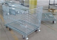 Folding steel portable equipment metal storage cages with 4 wheels