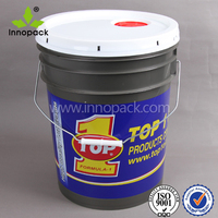 round 5 gallon PP HDPE plastic bucket with spout lid and handle