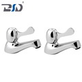 Chrome Plated Deck Mounted Hot Cold Water Basin Sink Pillar Taps in Pair