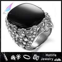 black cubic zircon royal 316L stainless Steel ring star of david ring