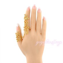 hot wholesale gold jewelry cuff leaf wrap long armor full two finger ring