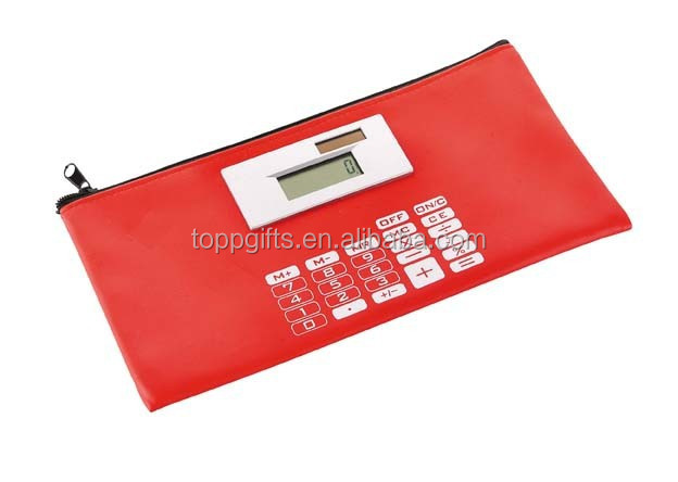 Promotional polyester digital pencil box with calculator