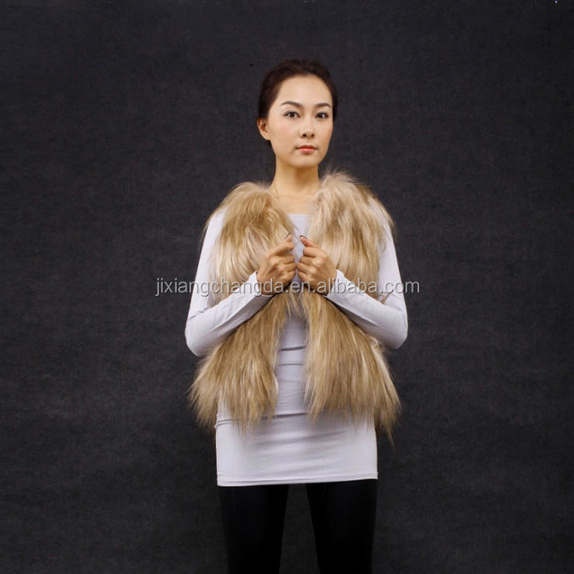 New fashion long hair goat fur vest fur gilet for women