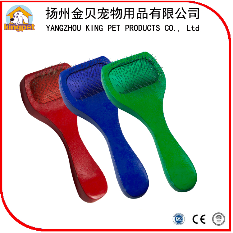 Red green blue color wood handle small pet brush dog hair comb