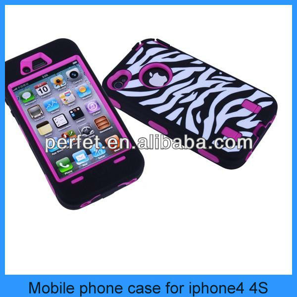 Robot style Zebra stripe Two-sided design mobile phone Case for iPhone 4S