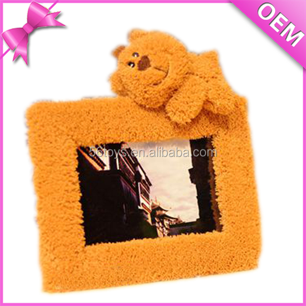 Top selling valentine gift love soft stuffed animal toy plush teddy bear photo frame