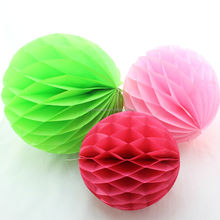 Plain Colorful Tissue Paper Honeycomb Ball for Party Decoration