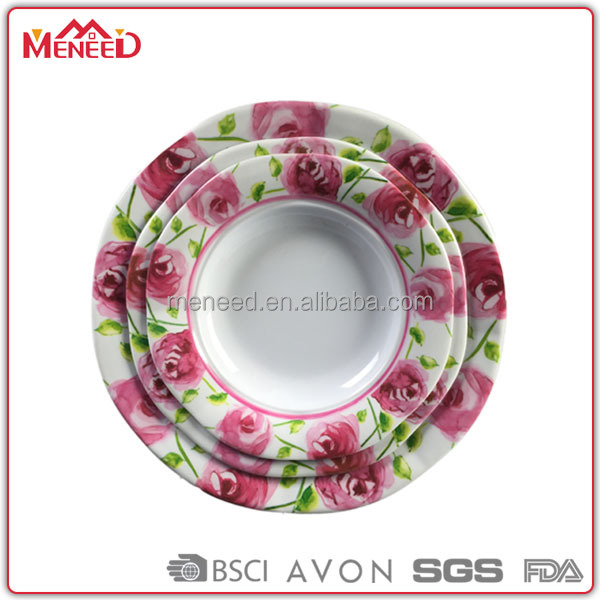 All over rose printing wedding party used set of melamine octangle dinner plate 8--10""