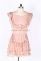 Back open pink babydoll wholesale cheap sexy transparent dress sleepwear dress