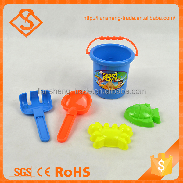 5pcs plastic summer toy children beach bucket with model and shovels