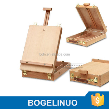 in stock 36*27*9.5(65)cm handle-held tabletop wood easel box