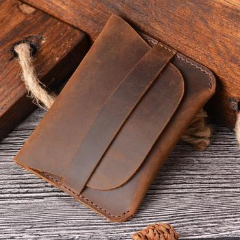 Handmade Bifold Wallet Crazy Horse Genuine Leather Card Holder Minimalist Pocket Leather Wallets Vintage Style Coin Purses