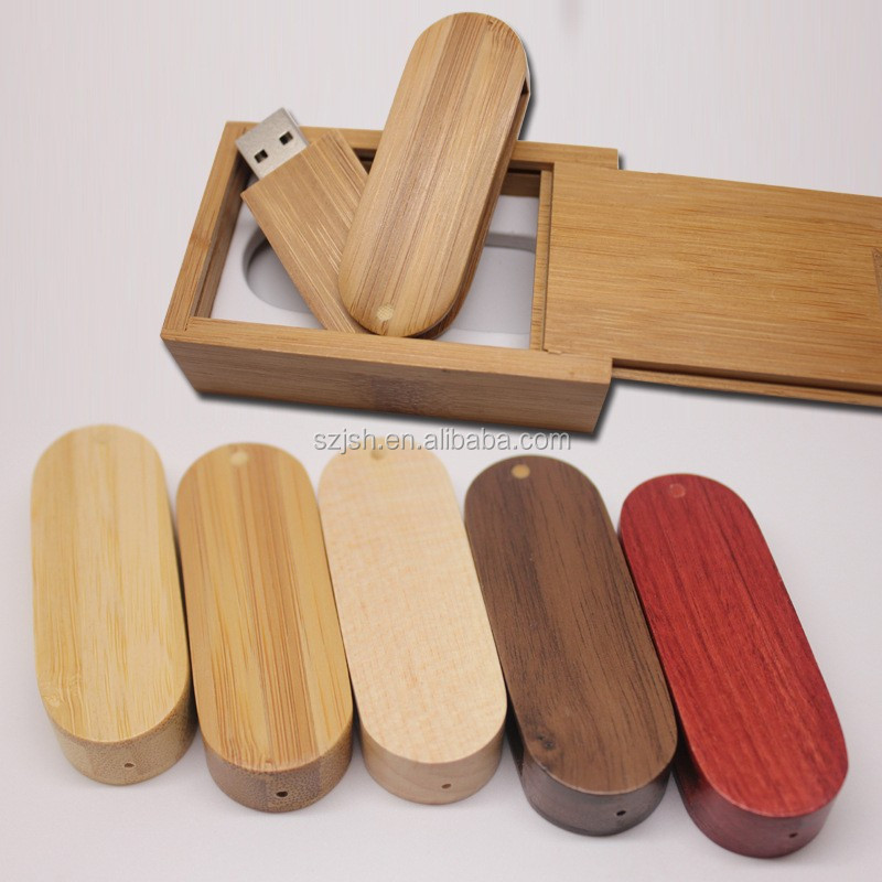 Custom 1 dollar gift Swivel bulk wooden box usb flash drive with logo printing
