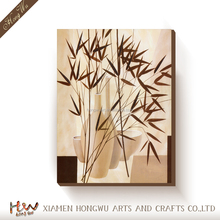 Handmade Chinese Bamboo Oil Painting on Canvas Wall Decoration