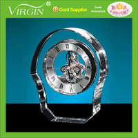Unique crystal desk mechanical clock for promotional awards