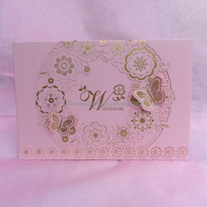 Pink arabic wedding invitation cards