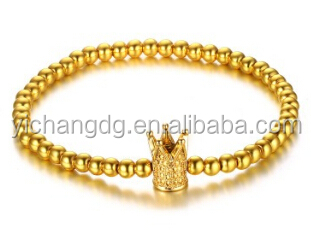 High polished yellow gold plated stainless steel beads bracelet with crow charm