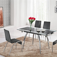 L808C Extendable Tempered Glass Top Dining Table, Metal Dining Table Set