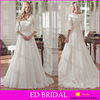 LN211 beautiful lace top 3/4 sleeve organz skirt cheap wholesale modest wedding dress