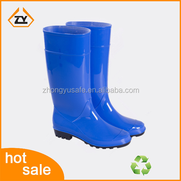 2016 fashion blue shinny pvc jelly water shoes, half wellington boots, farming shoes for women