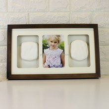 High quality 3D wood baby clay handprint kits footprint shadow box pet photo frame
